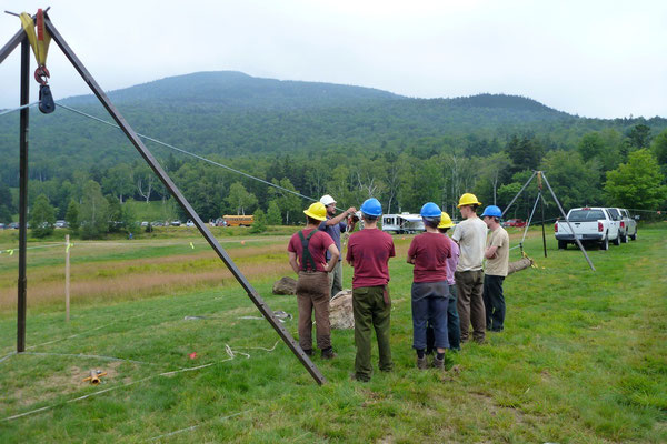 Rigging with tripods demonstation for the Forest Service Weeks Act Celebration, Mt Washington, NH, 2011