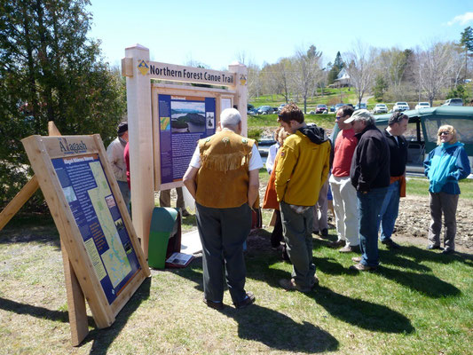 The Rockwood kiosk is unveiled along with the Chamberlain Lake and Lobster Stream signs.