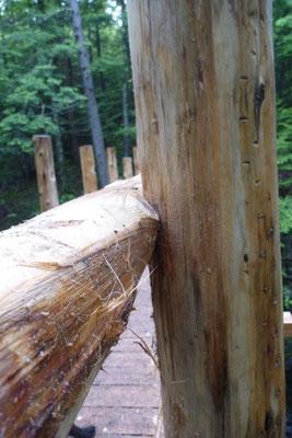 The rails get custom fitted to each post