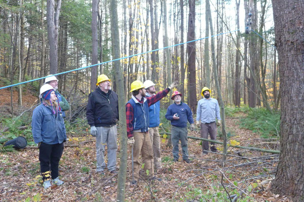 Participants conduct a safety check before tensioning the system, Charlestown, NH, 2013