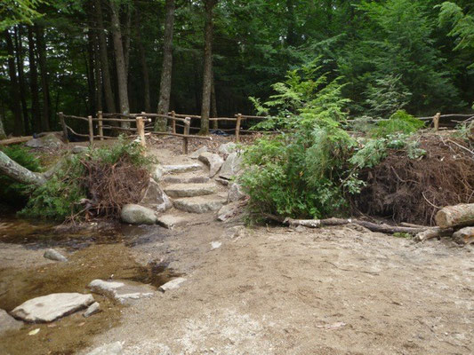 The finished stone steps and restored stream bank