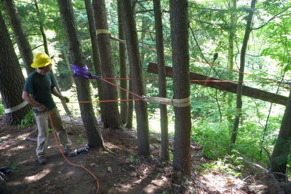 Belaying dimensional lumber to a work site, SCA rigging training, Charlestown, NH, 2012