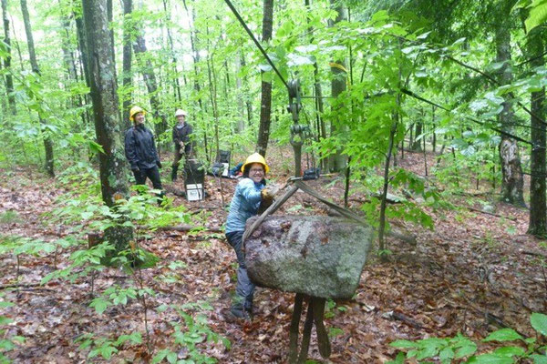 Pulling a rock along a skyline, Bear Brook rigging workshop, Allenstown, NH, 2012