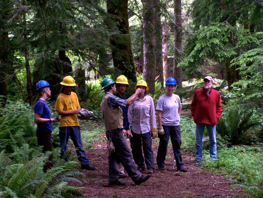 Discussion of trail layout, SCA work skills training, North Bend, WA, 2005