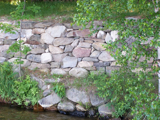 Rebuilt retaining wall above pond, Turner, ME, 2004