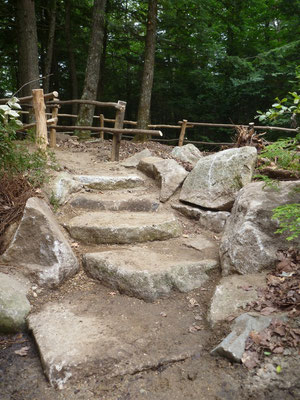 Stone steps and locust fencing direct visitors to the beach and swimming area