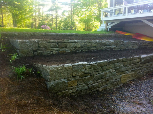 Tiered retaining wall, Belgrade, ME, 2012