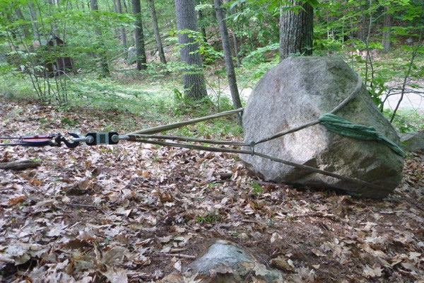 Flipping a 4000 lb. boulder, Bear Brook rigging training, Allenstown, NH, 2009