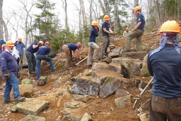 All hands are busy as the project wraps up, Maine Conservation Corps training, Camden Hills State Park, 2013
