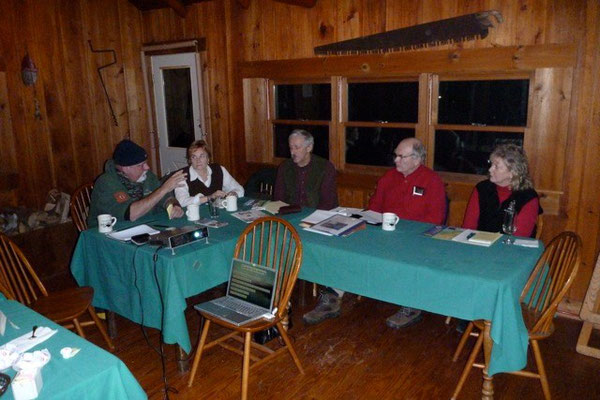 The Rockwood committee meets to discuss signs at Rockwood, Lobster Stream and Chamberlain Lake