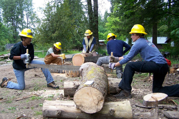 Introduction to crosscut sawing, SCA work skills training, Carnation, WA, 2009