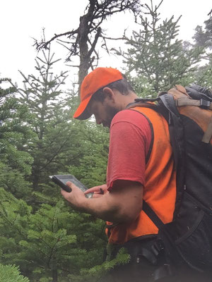 Entering GPS information during trail layout for the Maine Department of Conservation, Bureau of Parks and Lands