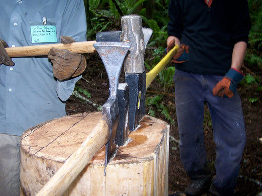 Splitting a cedar bolt into planks, SCA work skills, Rattlesnake Mtn, WA, 2007