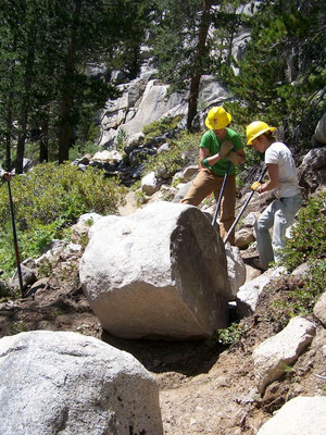 Moving a large boulder that rolled into the trail, Pacific Crest Trail, CA, 2006