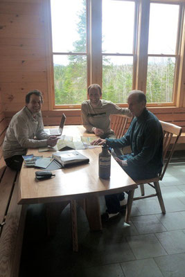 Meeting at Grand Falls Hut with Maine Huts and Trails staff and volunteers to discuss mapping and signage logistiics