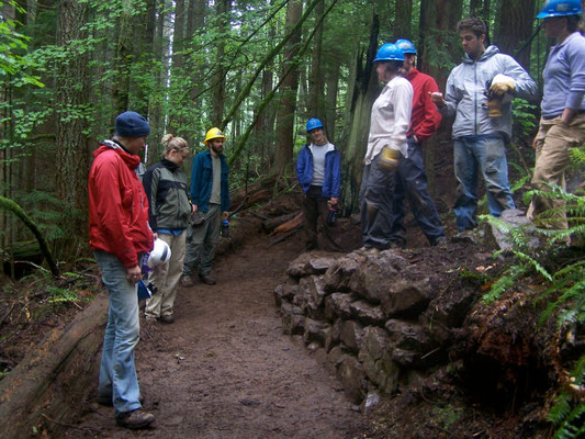 Recapping the construction of a retaining wall on a switchback, Tiger Mtn, WA, 2006
