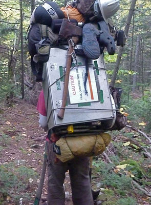 Hiking down base camp gear, Mt. Abraham, ME, 2011