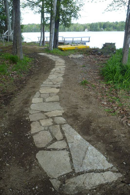 Granite slab walkway, Belgrade, ME, 2013