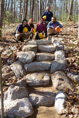 MCC crew leaders at a newly built staircase, Maine Conservation Corps training, Jay, ME, 2012