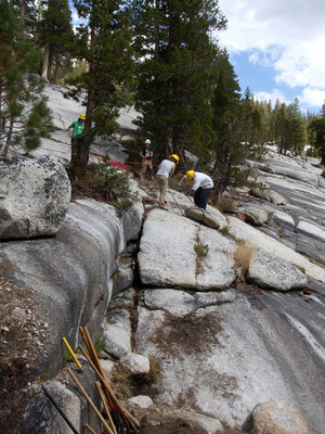Belaying a slab to the work site, FS/SCA tradional skills workshop, John Muir Wilderness, CA, 2007