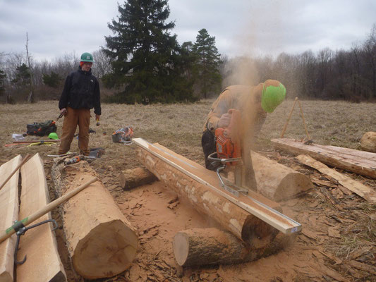 Milling with a chainsaw for bog bridging, Cleveland, OH, 2013