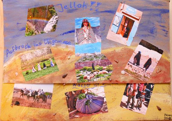 Collagen Jellah & aman iman aus der Reihe Fluchtgeschichten Acryl/Sand/Muscheln/Fotos auf Pappkarton geklappt 2015 Preis 90,-€