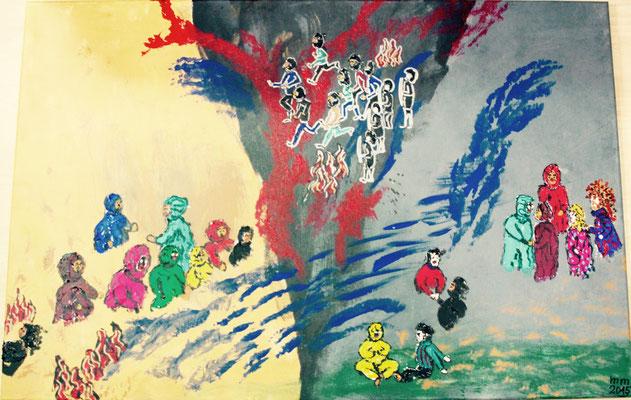 Frieden entsteht durch Verständigung, nicht durch Vereinbarung aus der Reihe Fluchtgeschichten Acryl Spachtel auf Leinwand 2015, verkauft