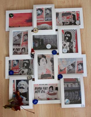 meine Kiez Fundstücke Fotos auf Papier Kronkorken Blatt im Rahmen 2015 Preis 80,- €