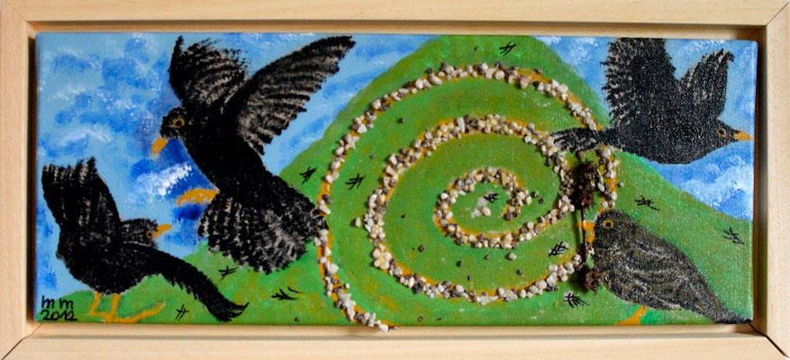 Amselbegegnungen Acryl auf Leinwand 2012 Preis 130,- €