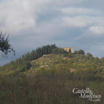 Il Castello di Monteluco visto dal paese di San Sano • Monteluco Castle seen from San Sano village.