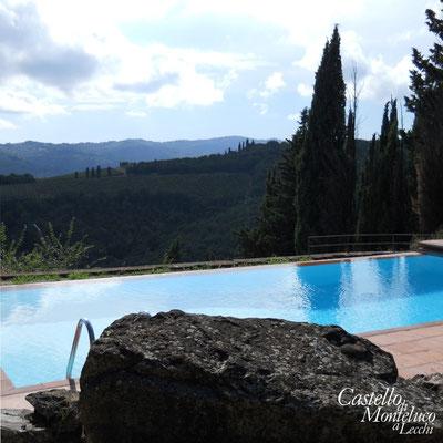 La piscina sul Chianti • Our swimming-pool in front of the hills of Chianti.