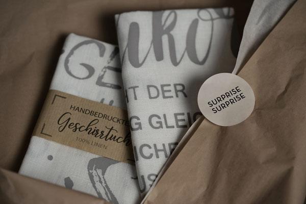 handbedruckte Geschirrtücher als Geschenk Siebdruck Bielefeld Sieb & Seele