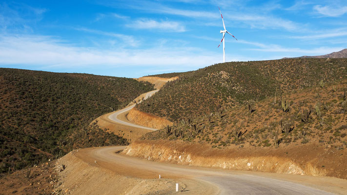 Project planned, designed and developed by Eolic Partners: Los Cururos Wind Farm (El Pacifico and La Cebada), IV Region of Chile. Inauguration October 2014 - Copyright Eolic Partners