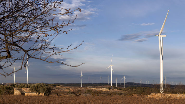 Planned project, designed and developed by Eolic Partners: Torre Madrina Wind Farms, Coll del Moro and Vilalba dels Arcs. Terra Alta, Catalonia, Spain. Inaugurated between 2010 and 2012 - Copyright Eolic Partners