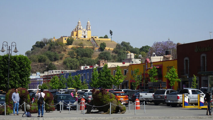 Cholula - with the church at the top of a pyramid