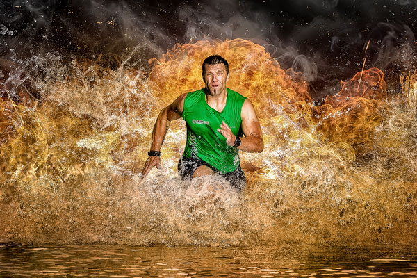 Athlet im Feuer