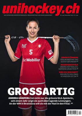 Unihockeyspielerin auf Titelseite