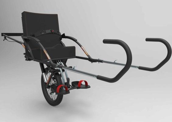 Joëlette ou fauteuil randonnée adapté pour personne en situation de handicap.