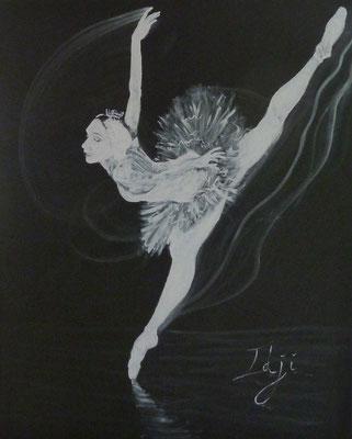 Acrylique sur toile blanc sur fond noir (40 F)