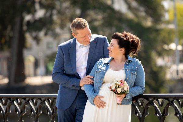 Hochzeitsfoto auf der Münsterbrücke