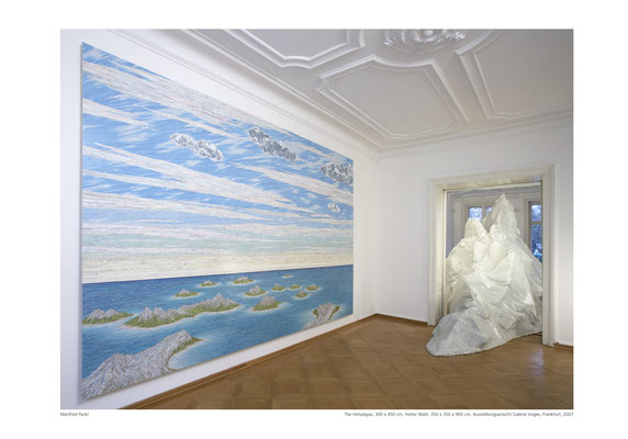 Installation View, The Himalayas, 300 x 450 cm, 2007, Hoher Watt, 900 x 350 x 350 cm, Voges & Partner Gallery, Frankfurt/M, 2007