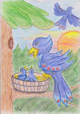 Im Nest des Lapislazuli-Vogels