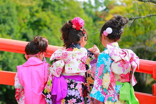 山梨県甲府市武田神社にて従姉妹と一緒に七五三撮影