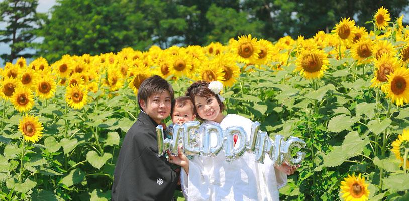 明野ひまわり畑 フォトウェディング 和装 白無垢 紋付袴 北杜市明野 和装前撮り 結婚写真