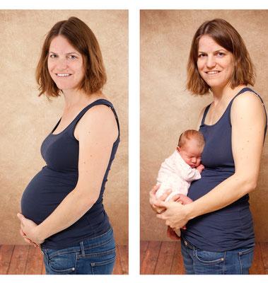 Babybauch Fotoshooting, vor und nach der Geburt, Frick