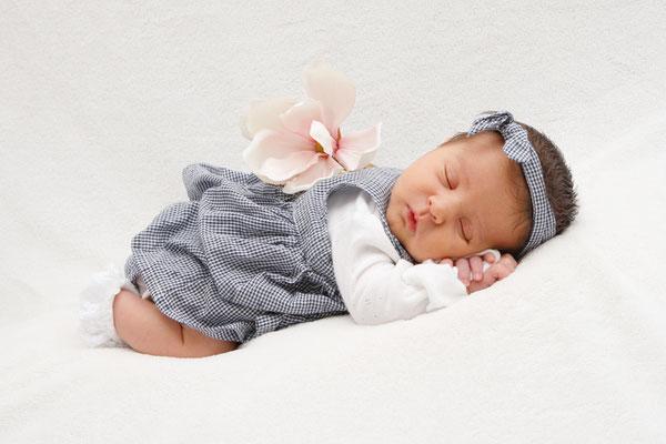 Baby Homeshooting, auf dem Bauch schlafend, Buchs