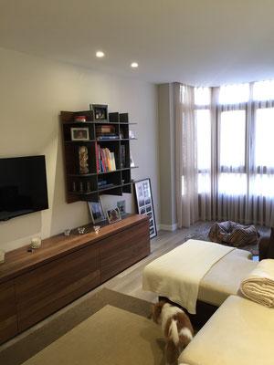 Mueble de salón en nogal y laca, minimalista pero funcional