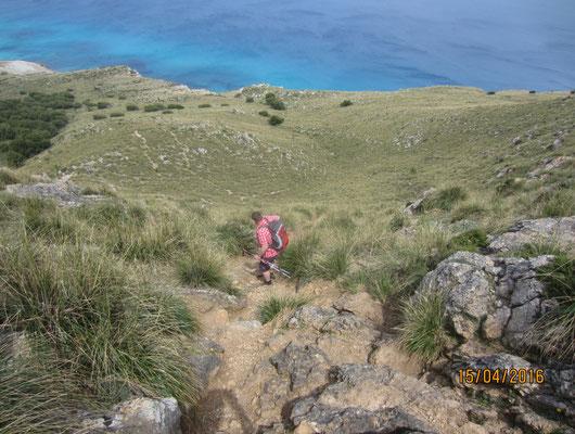 Steiler Abstieg!!!