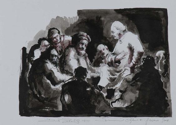 Die Predigt, 2008, 50x35cm, cm, Fineliner/Tusche/Papier, P88                       ©Raimund Egbert-Giesen