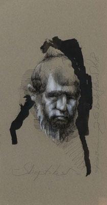 Skeptiker, 2018, 49,5x25,5cm, Fineliner/Tusche/Papier, P71                       ©Raimund Egbert-Giesen